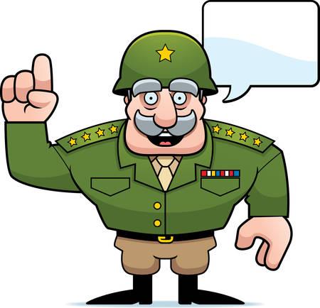 Een illustratie van een cartoon militaire algemene praten.