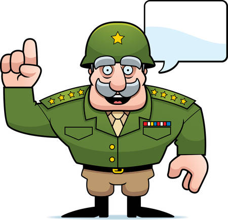 An illustration of a cartoon military general talking.