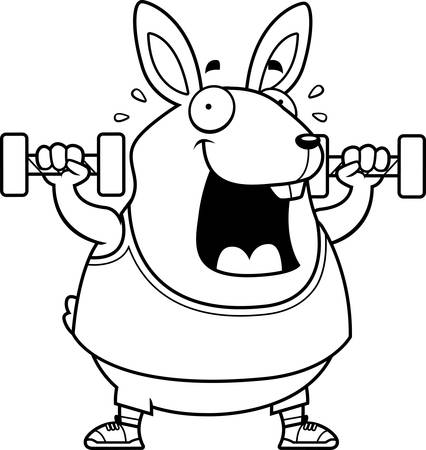A cartoon illustration of a rabbit lifting dumbbell weights. Ilustrace