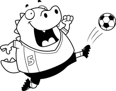A cartoon illustration of a lizard kicking a soccer ball.