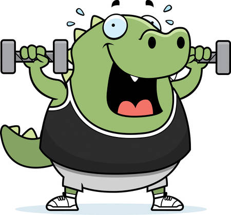 A cartoon illustration of a lizard lifting dumbbell weights. Reklamní fotografie - 44514023