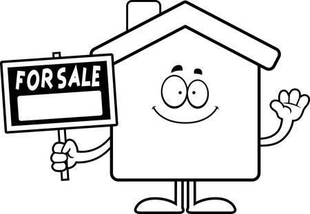 Een cartoon illustratie van een huis te koop zwaaien.