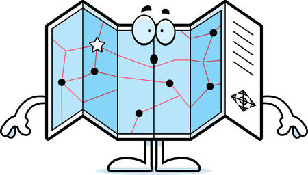A cartoon illustration of a road map looking surprised.