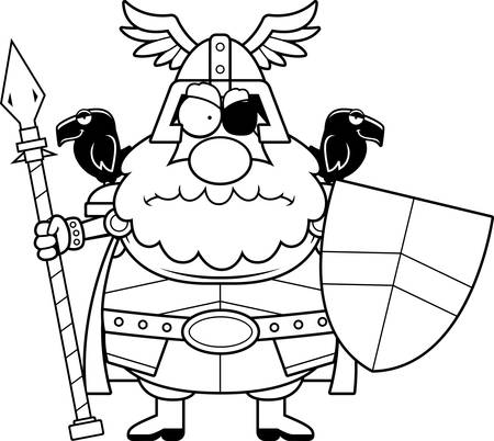 A cartoon illustration of Odin looking angry.