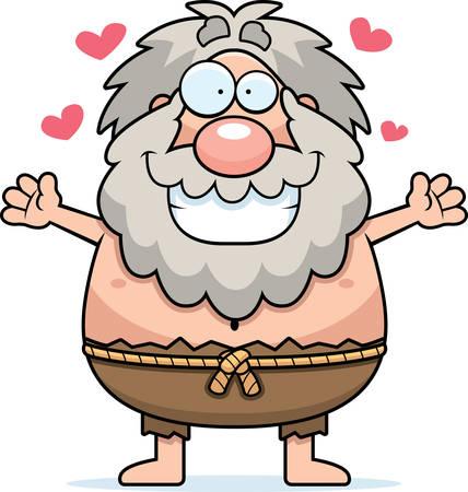 A cartoon illustration of a hermit ready to give a hug. Illusztráció