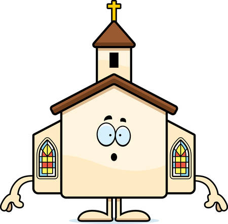 A cartoon illustration of a church looking surprised.