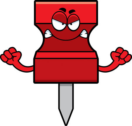 A cartoon illustration of a pushpin looking angry.