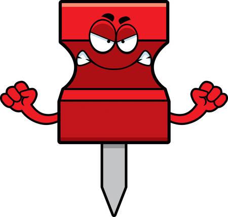 tack: A cartoon illustration of a pushpin looking angry.