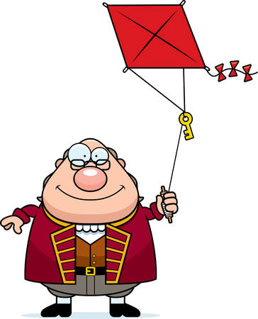 flying kite: A cartoon illustration of Ben Franklin flying a kite.