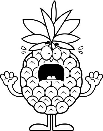 A cartoon illustration of a pineapple looking scared.