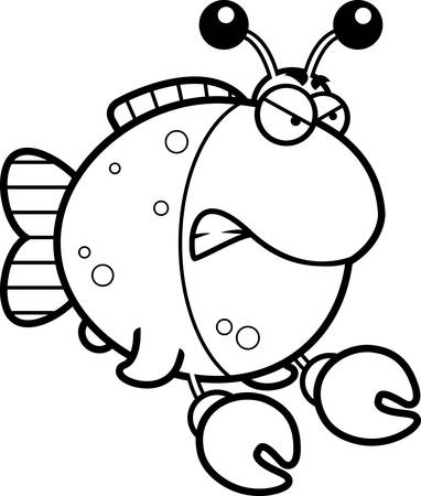 Een cartoon afbeelding van een vis gekleed als een krab met een boze uitdrukking.