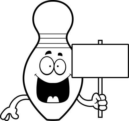 quille de bowling: Une illustration de bande dessin�e d'une quille de bowling avec une pancarte.