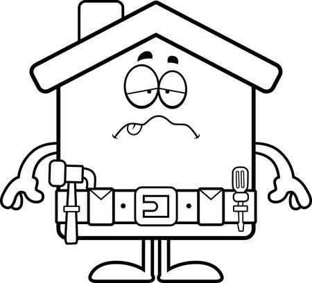 Een cartoon illustratie van een home improvement huis op zoek ziek.