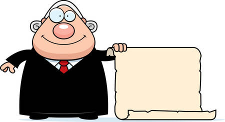 A cartoon illustration of a judge with a sign.