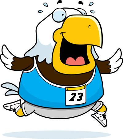 レースで実行して幸せな漫画イーグル。