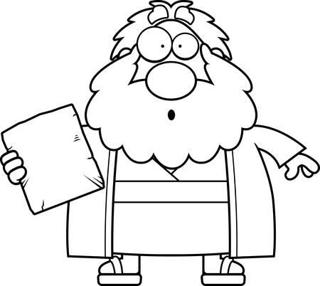 bible ten commandments: A cartoon illustration of Moses looking surprised.
