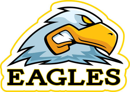 A cartoon illustration of an eagle mascot head. Illustration