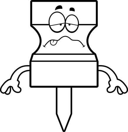 A cartoon illustration of a pushpin looking sick. Banco de Imagens - 44513183