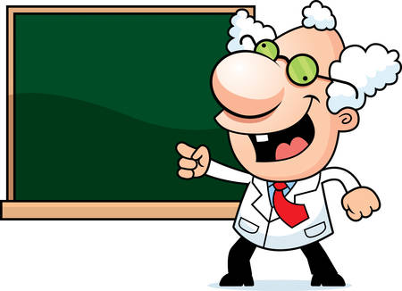 An illustration of a cartoon mad scientist with a chalkboard. 向量圖像