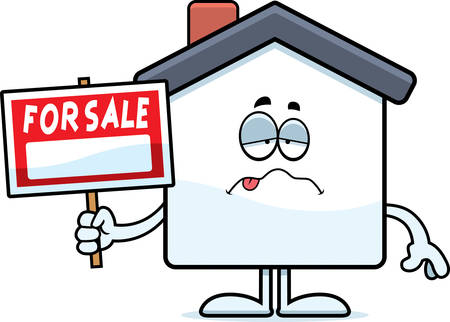 nauseous: A cartoon illustration of a home for sale looking sick. Illustration