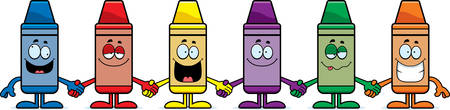 A cartoon illustration of a group of crayons holding hands.