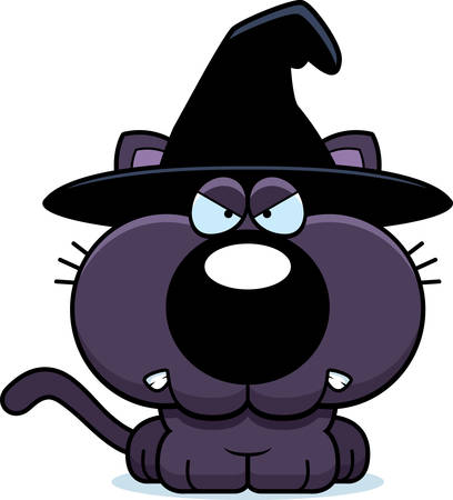 growl: A cartoon illustration of a cat in a witch hat with an angry expression.