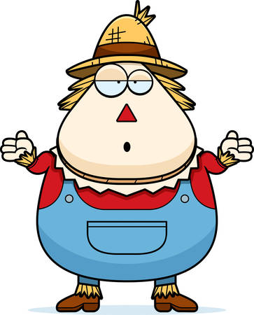 cartoon hat: A cartoon illustration of a scarecrow looking confused.