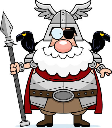 A cartoon illustration of Odin looking happy.