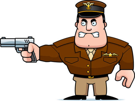 tough man: An illustration of a cartoon military captain with a gun.