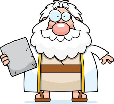 bible ten commandments: A cartoon illustration of Moses looking happy. Illustration