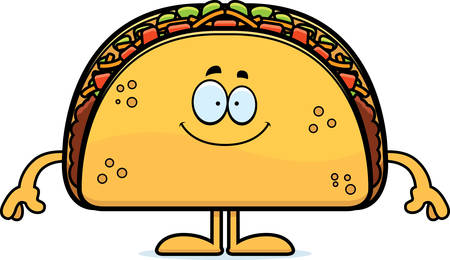 A cartoon illustration of a taco looking happy. Иллюстрация