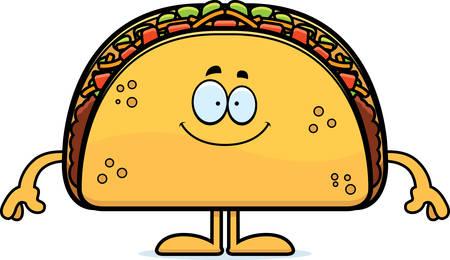 Een cartoon illustratie van een taco op zoek gelukkig.