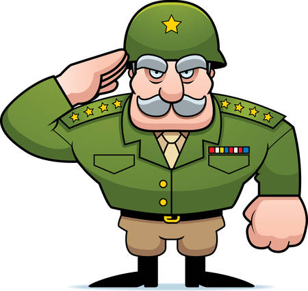 military uniform: An illustration of a cartoon military general saluting.
