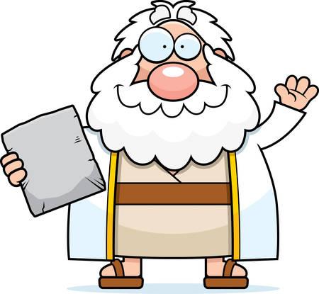 ten commandments: A cartoon illustration of Moses waving.