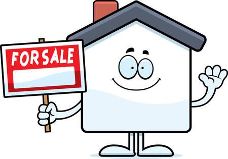Een cartoon illustratie van een huis te koop zwaaien. Stockfoto - 44512712