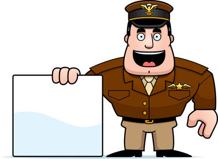 An illustration of a cartoon military captain with a blank sign.