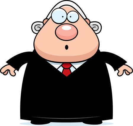 A cartoon illustration of a judge looking surprised.