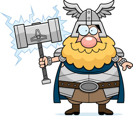 A cartoon illustration of Thor looking happy.