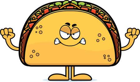 A cartoon illustration of a taco looking angry. Ilustração
