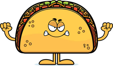 angry vegetable: A cartoon illustration of a taco looking angry. Illustration