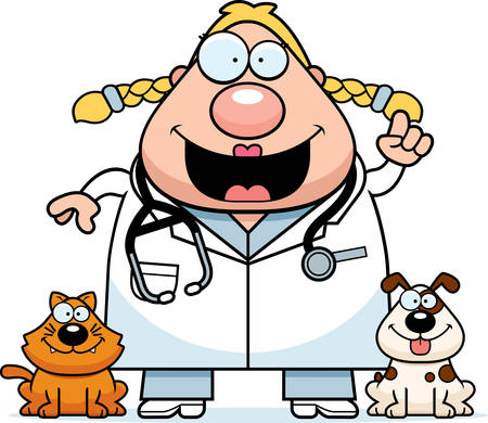A cartoon illustration of a veterinarian with an idea. 向量圖像