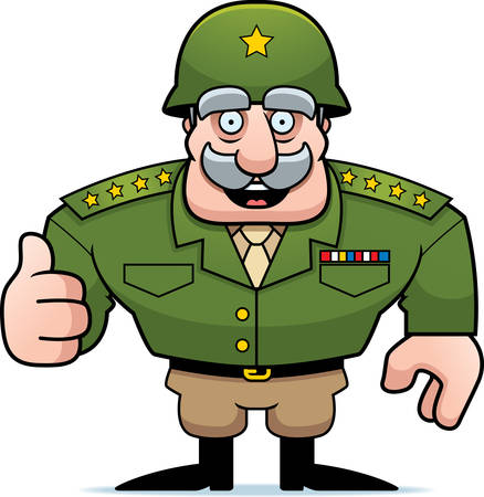 general: An illustration of a cartoon military general giving a thumbs up sign.