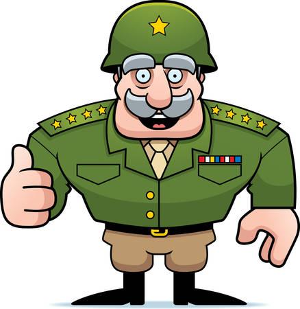 Een illustratie van een cartoon militaire algemeen het geven van een duim omhoog teken.