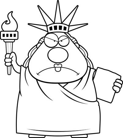 vrouw met tablet: A cartoon illustration of the Statue of Liberty looking angry.