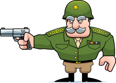 general: An illustration of a cartoon military general shooting a gun. Illustration