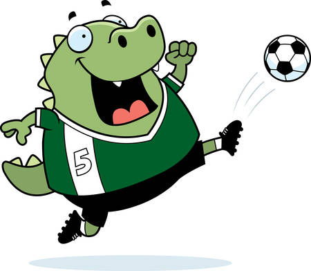 A cartoon illustration of a lizard kicking a soccer ball.