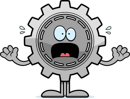 A cartoon illustration of a gear looking scared.