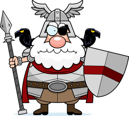 odin: A cartoon illustration of Odin looking angry.