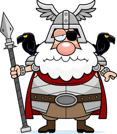 odin: A cartoon illustration of Odin looking sad.