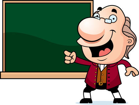bifocals: An illustration of a cartoon Ben Franklin with a chalkboard.